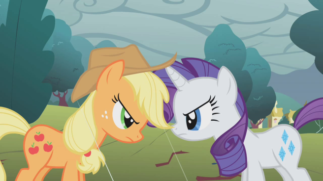 Rarity_and_Applejack_stare-down_S1E8